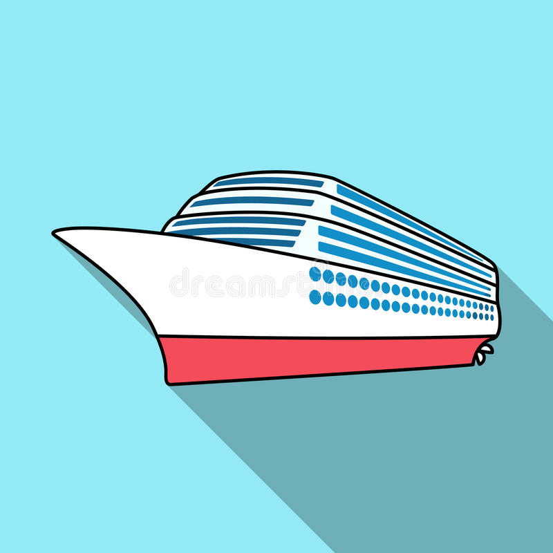 Um forro enorme do cruzeiro Veículo para viajar sobre distâncias longas a um grande número de povos Transporte do navio e da água ilustração do vetor