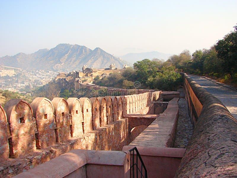 Um forte do monte em Amer, Jaipur, Rajasthan, Índia imagem de stock