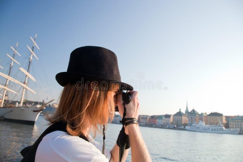 Um fotógrafo em Éstocolmo, Sweden imagem de stock royalty free