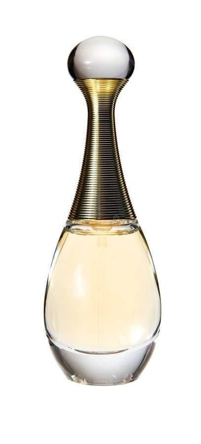 Um frasco de perfume no branco fotos de stock royalty free