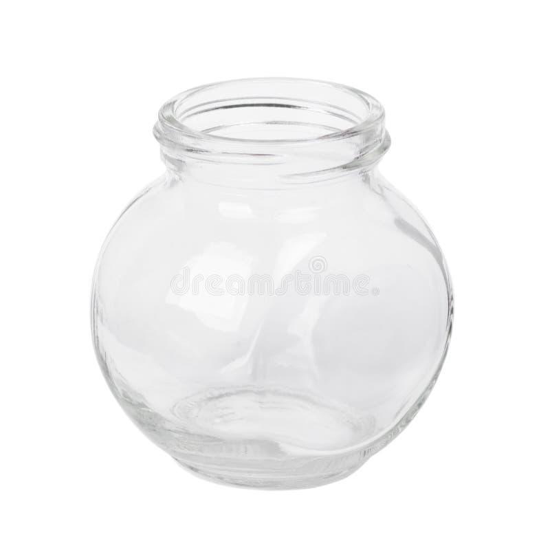 Um frasco de vidro vazio pequeno isolado fotografia de stock