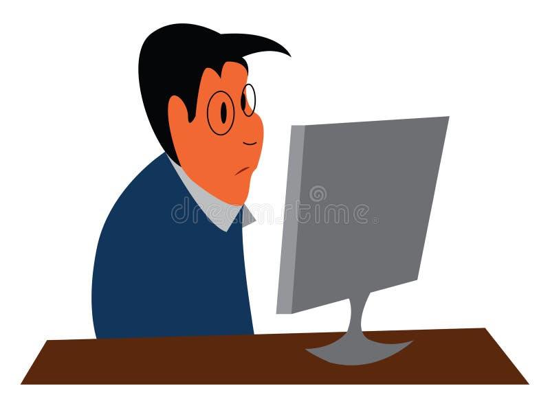 Um funcionário do escritório que trabalha em seu escritório está sentado em frente a seu desenho ou ilustração de cores de vetor  ilustração do vetor