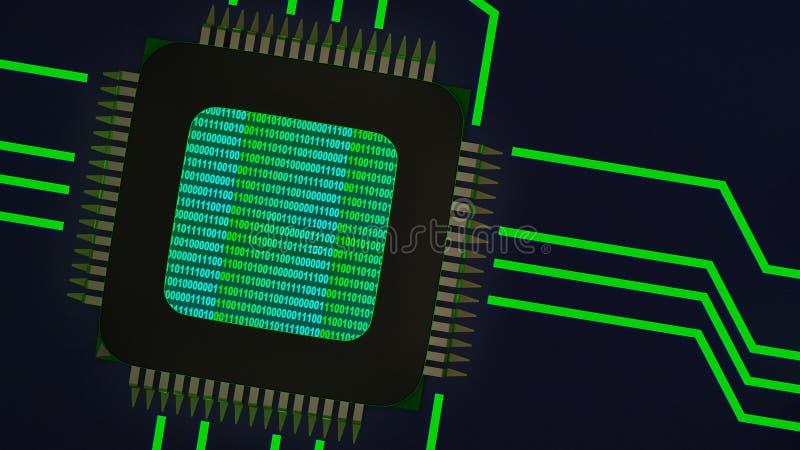 Um fundo abstrato com um chip de computador ilustração royalty free