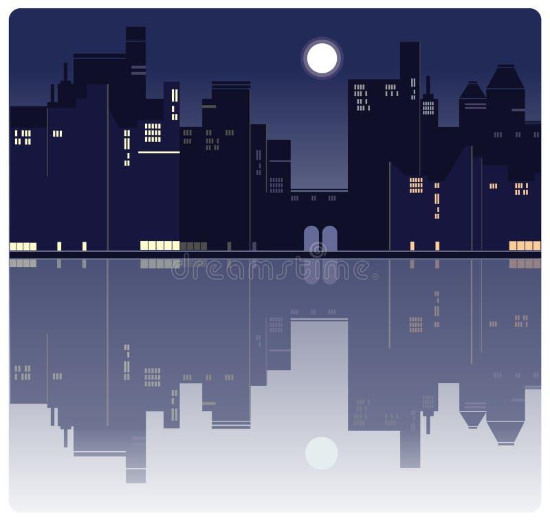 Um fundo americano da cidade da noite ilustração do vetor