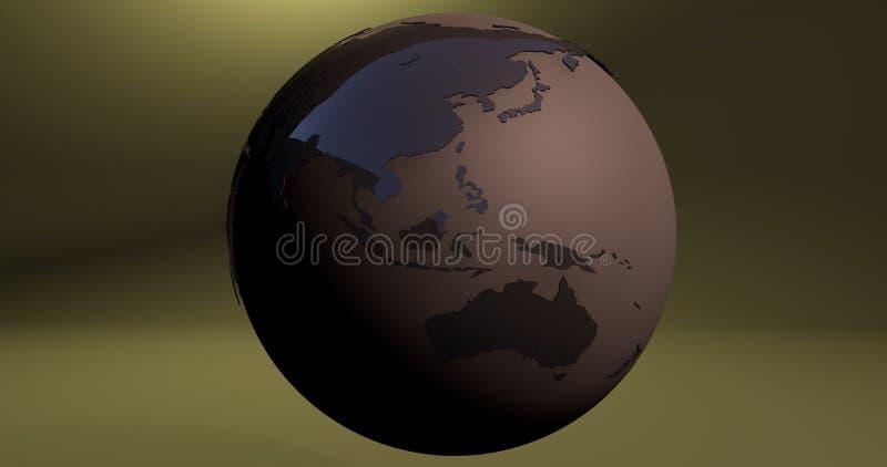 Um fundo com o planeta da terra na cor marrom, que mostra continentes de Austrália e de Ásia ilustração royalty free