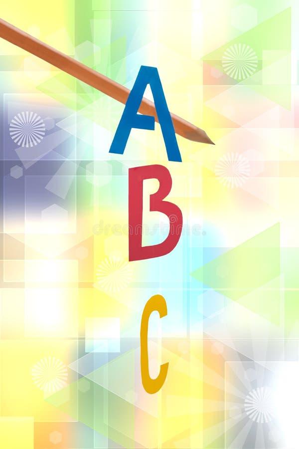 Um fundo das letras de B C Grupo da colagem de ABC e de um lápis com foco em letras contra a tecnologia moderna pastel do sumário ilustração royalty free