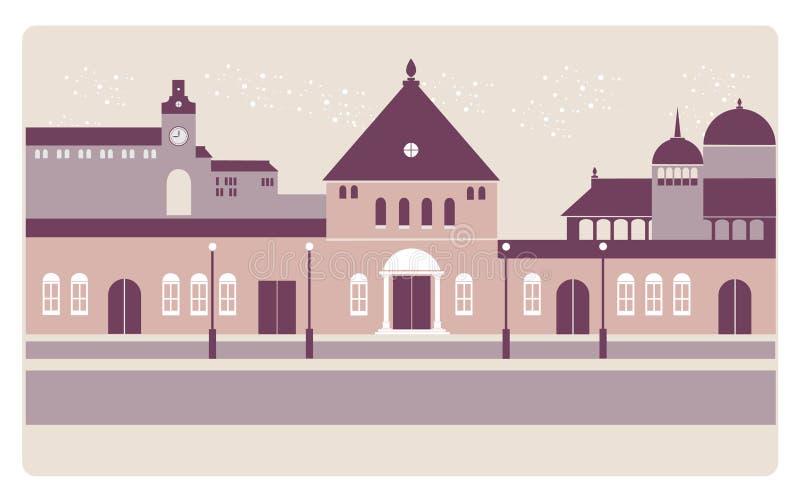 Um fundo europeu da cidade do noontime ilustração do vetor