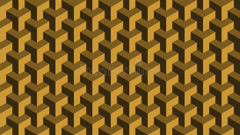Um fundo magnífico para um grupo sextavado-dado forma que consiste no ouro e no marrom, teste padrão geométrico abstrato ilustração do vetor
