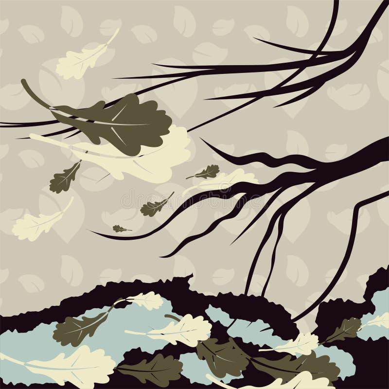 Um fundo sombrio com um ramo de uma árvore e as folhas caídas no outono atrasado ilustração do vetor