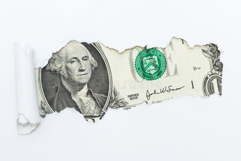 Um furo em um fundo branco Dinheiro escondido, fraude Corrup??o e fraude fotos de stock