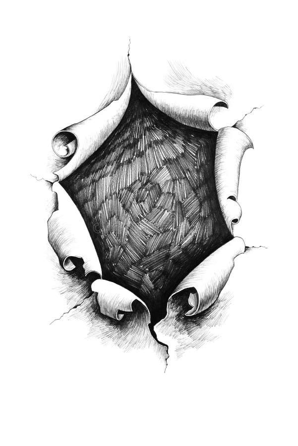 Um furo no papel ilustração royalty free