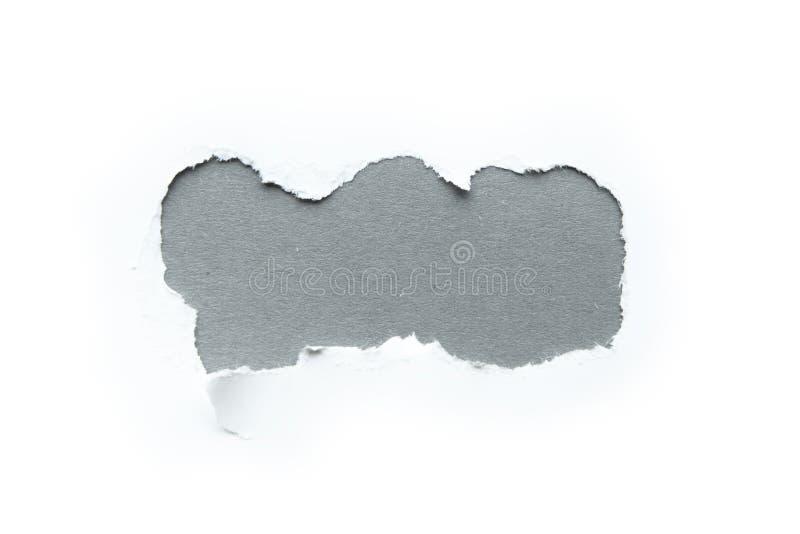 Um furo tridimensional em um fundo branco, espaço para o texto em um fundo cinzento imagens de stock