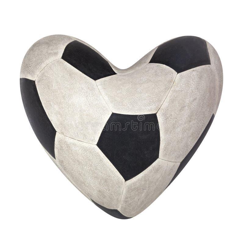 Um futebol usado no isolat preto e branco da pele clássica do teste padrão foto de stock royalty free