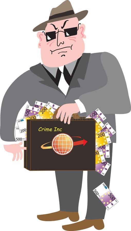 Um gângster com punhados do dinheiro ilustração royalty free