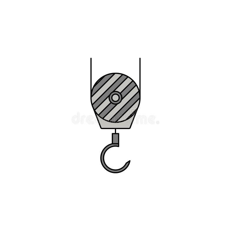 um gancho de um ícone da cor do esboço do guindaste de construção ilustração do vetor