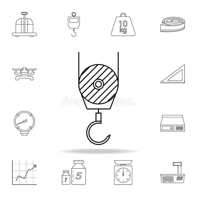 um gancho de um ícone do guindaste de construção Grupo detalhado de ícones dos instrumentos de medição Projeto gráfico superior U ilustração do vetor