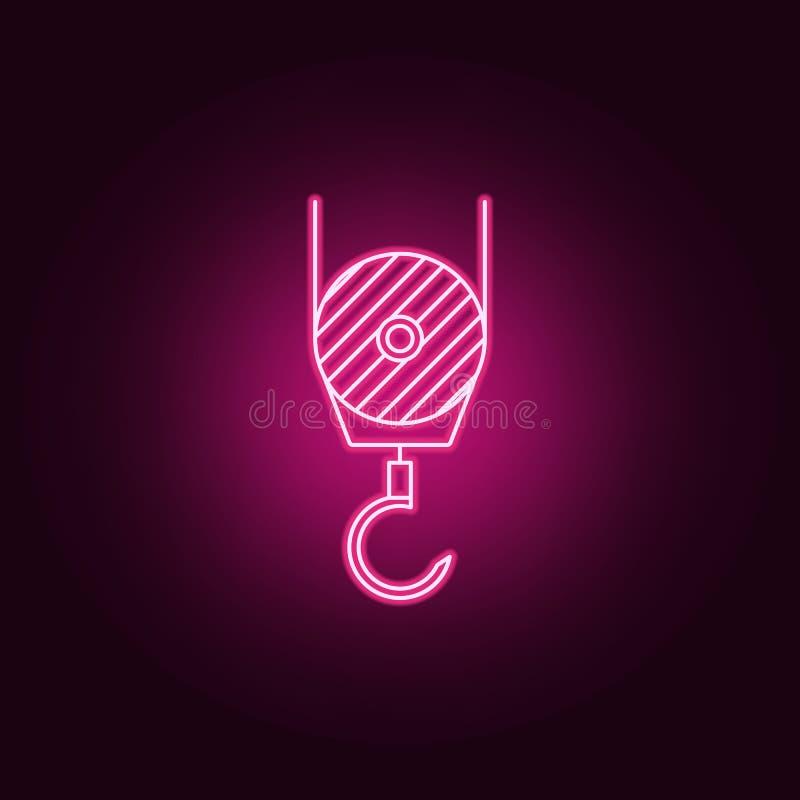 um gancho de um ícone de néon do guindaste de construção Elementos da medida do grupo ?cone simples para Web site, design web, ap ilustração do vetor