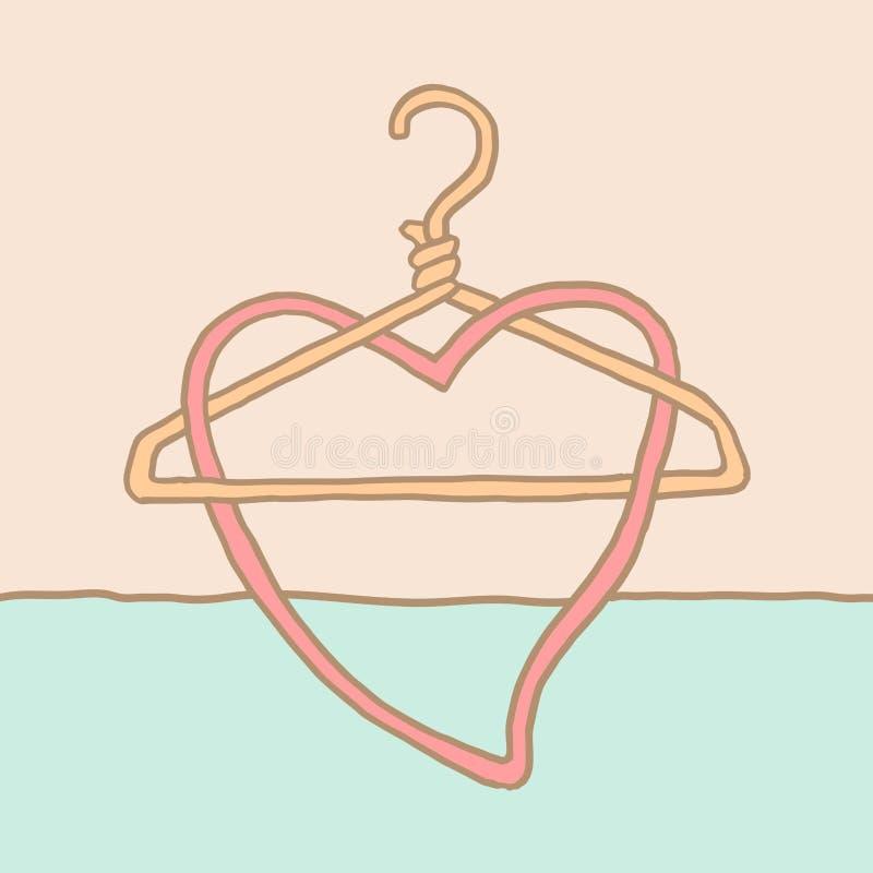 Um gancho e um coração funky de revestimento ilustração stock