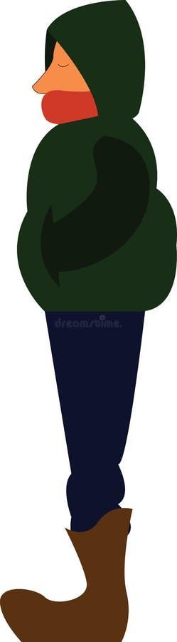 Um garoto com jaqueta verde, ilustração de cores vetoriais ilustração do vetor