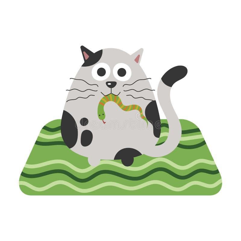 Um gato com uma serpente na boca ilustração royalty free