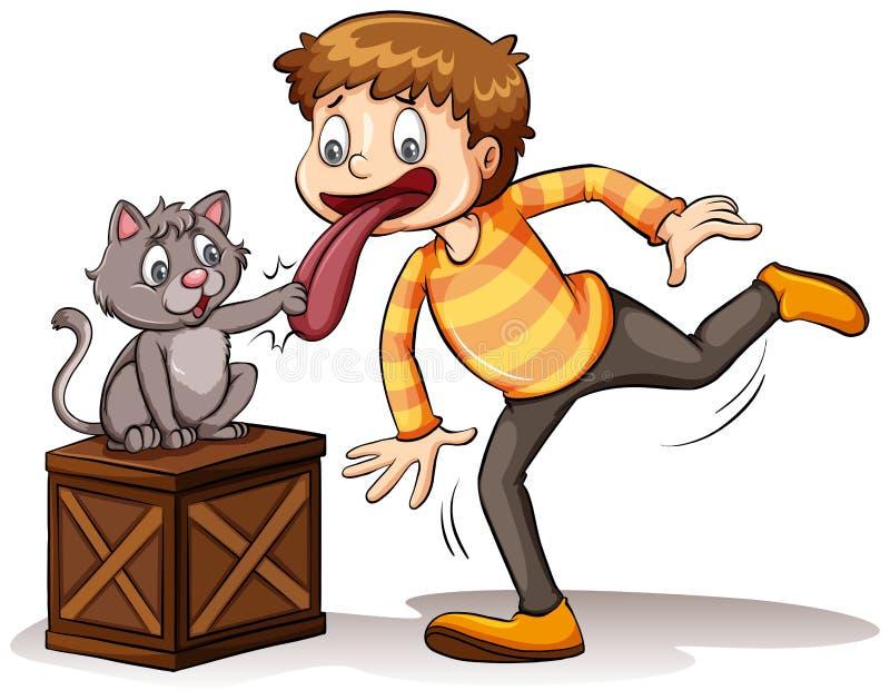 Um gato obteve seu idioma da língua ilustração royalty free