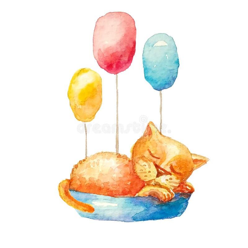 Um gato pequeno amarelo bonito que dorme em uma cesta azul com as três bolas coloridas ilustração stock