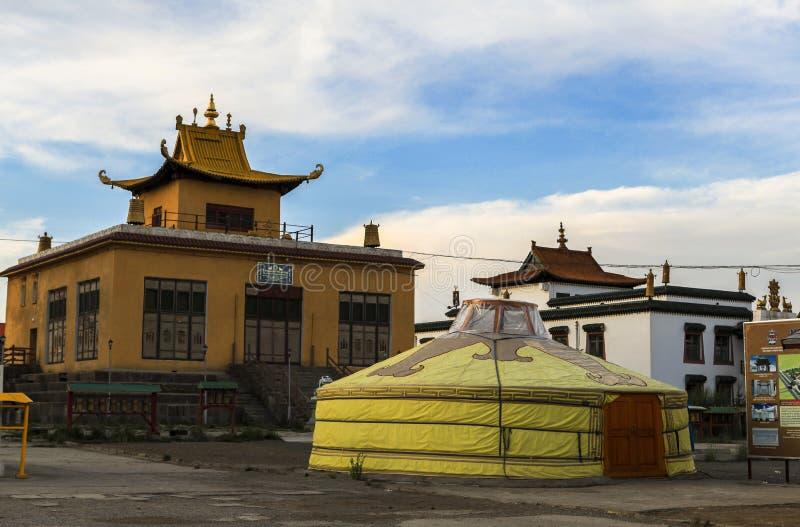 Um Ger no monastério em Mongólia fotos de stock