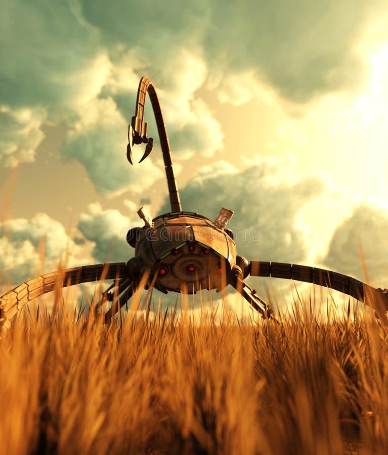Um gigante mech no campo de grama ilustração do vetor