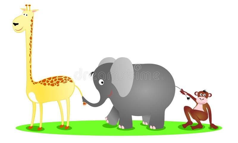 Um giraffe, um elefante e um chimpanzé em uma fileira ilustração royalty free