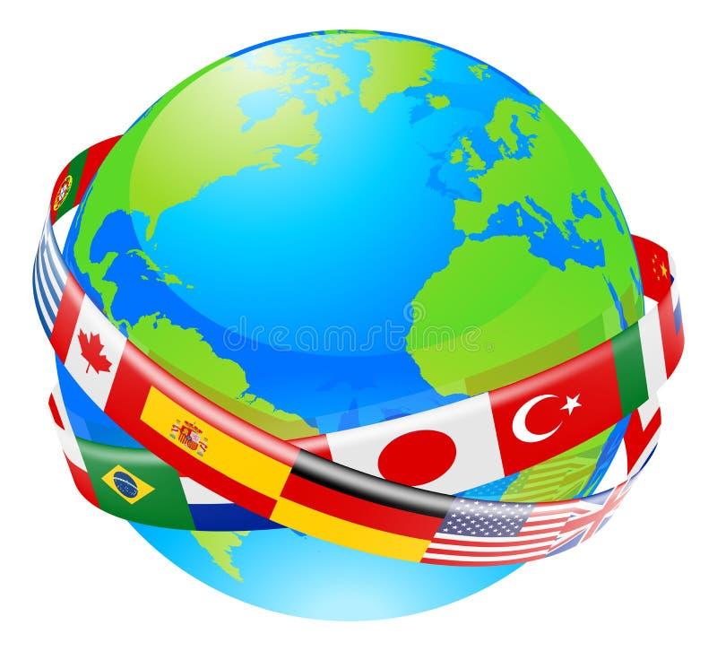 Um globo da terra com as bandeiras dos países ilustração do vetor