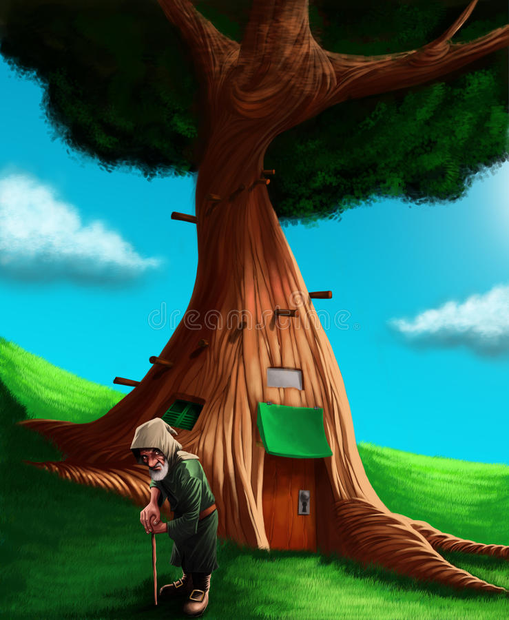 Um gnomo na parte dianteira sua casa na árvore mágica fotos de stock