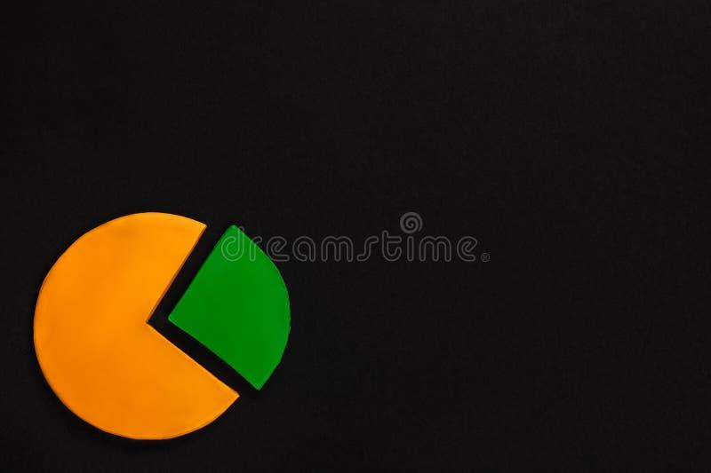 Um gráfico de círculo feito do plasticine no fundo preto no fundo preto, disparou de cima de, alinhado à esquerda imagem de stock