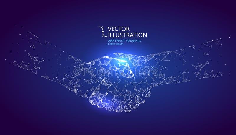 Um gráfico do aperto de mão formou pelo ponto e pela linha conexão, projeto gráfico da ciência e tecnologia ilustração do vetor