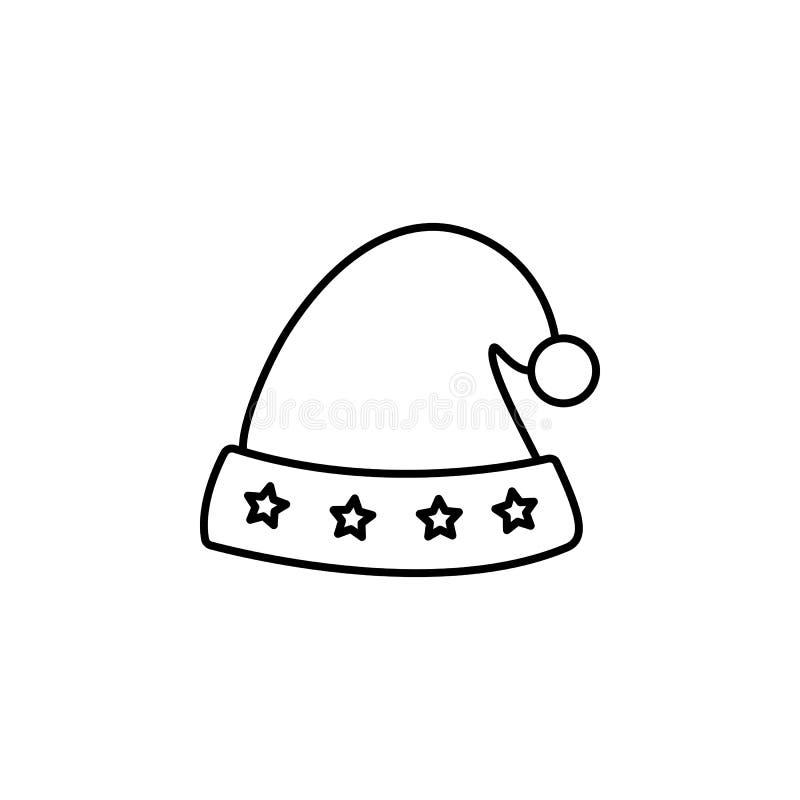 Um gráfico do elemento do projeto do ícone do chapéu de Santa Claus Christmas ilustração do vetor