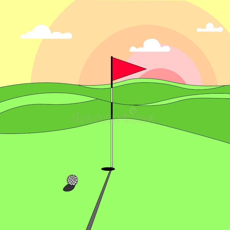 Um grande campo de golfe verde no por do sol ilustração royalty free