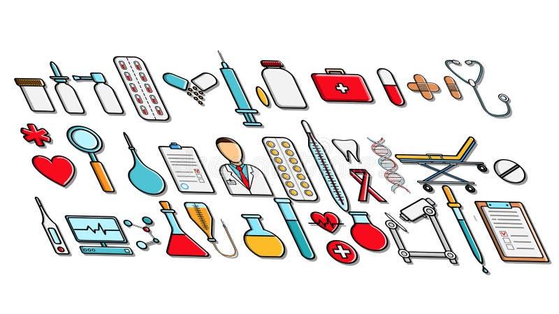 Um grande grupo de formigamentos dos ícones dos artigos da medicina formiga ícones dos comprimidos de latas das cápsulas das garr ilustração do vetor