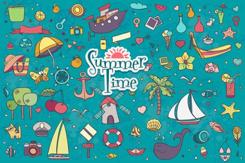 Um grande mão-afoga o grupo colorido de garatujas do verão ilustração do vetor