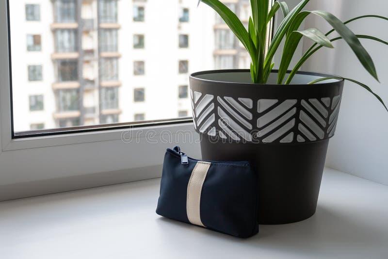 Um grande potenciômetro preto e branco com uma planta verde está em uma soleira larga branca pela janela imagens de stock