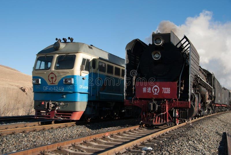 Um grande trem de trabalho velho do vapor fotografia de stock
