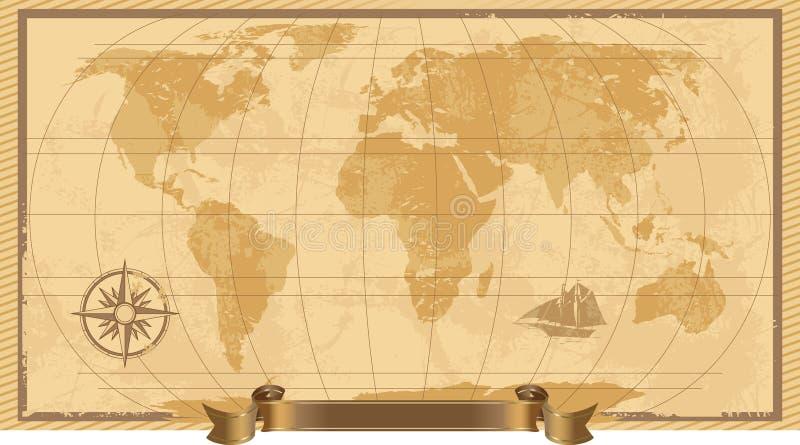 Um Grunge, mapa de mundo rústico ilustração royalty free