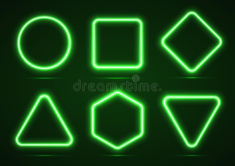 Um grupo das formas geométricas de néon ilustração do vetor