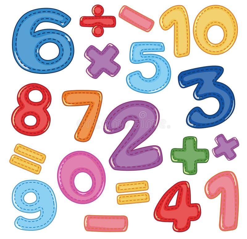 Um grupo de ícone do número e da matemática ilustração do vetor