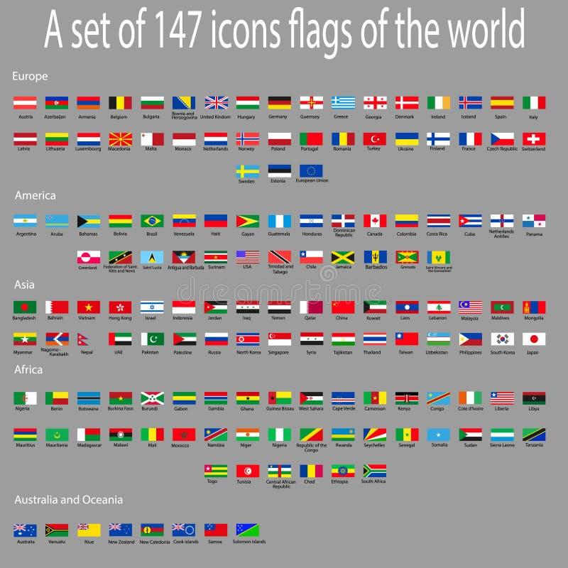 Um grupo de ícones com as bandeiras dos países em todo o mundo ilustração do vetor