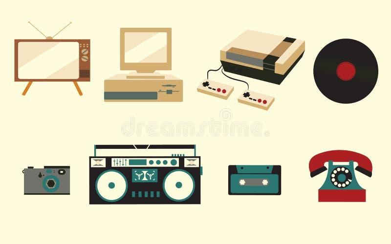 Um grupo de ícones da eletrônica retro do vintage velho, uma tevê do cinescópio, um gravador da gaveta dos anos 70, 80s, e 90s ilustração stock