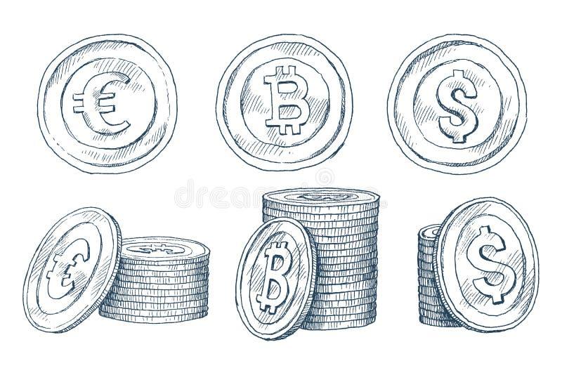 Um grupo de ícones das moedas no fundo branco isolado Cédulas dólar, euro das cédulas, bitcoin Símbolos de ilustração do vetor
