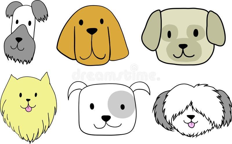 Um grupo de 6 ícones dos cães que caracterizam as caras de um terrier escocês, sabujo, mastim tibetano, Pomeranian, buldogue ingl ilustração royalty free