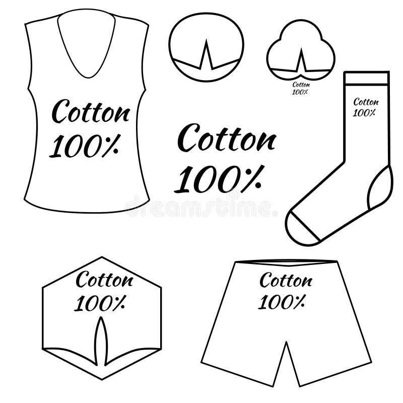 Um grupo de ícones, etiquetas, símbolos para a roupa feita do algodão ilustração stock