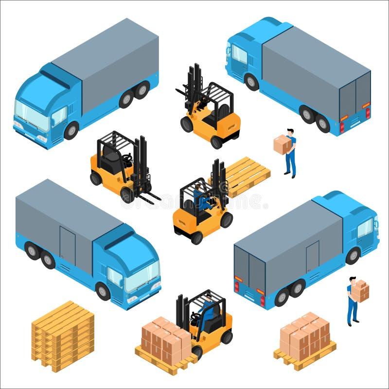 Um grupo de ícones isométricos, transporte para a carga ilustração royalty free