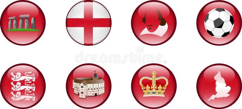 Um grupo de ícones lustrosos de Inglaterra ilustração do vetor