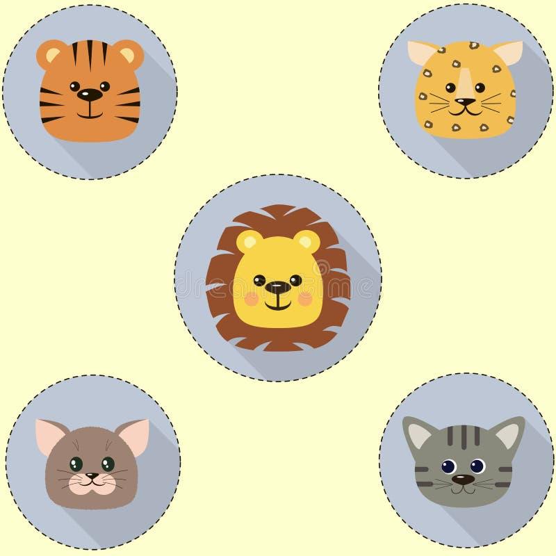 Um grupo de ícones no círculo de um gato, um tigre, um leão, um leopardo ilustração royalty free